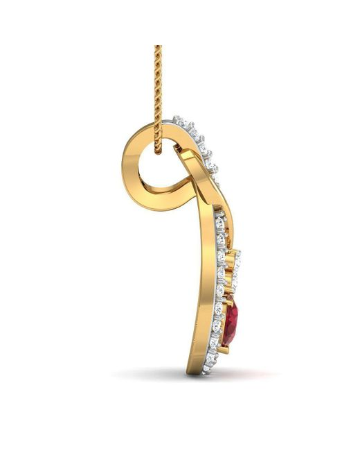 Diamoire Jewels - Metallic Nature Inspired Oval Shape Ruby And Diamond Pendant In 14kt Yellow Gold - Lyst