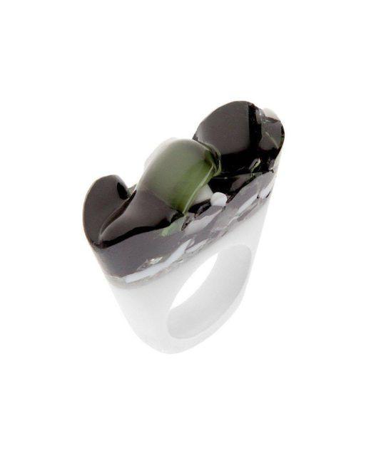 Pasionae - Metallic Murano Ring - B&w - Cholera - Lyst