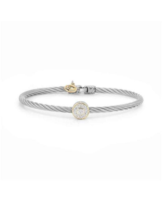 Alor - Gray 18kt White & Yellow Gold Classique Large Single Round Diamond Bangle - Lyst