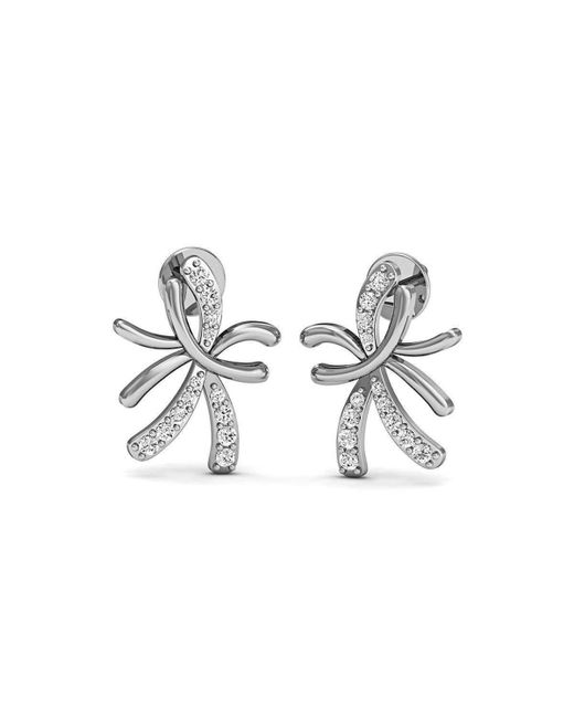 Diamoire Jewels - Metallic 18kt White Gold And Diamond Floral Pave Earrings - Lyst