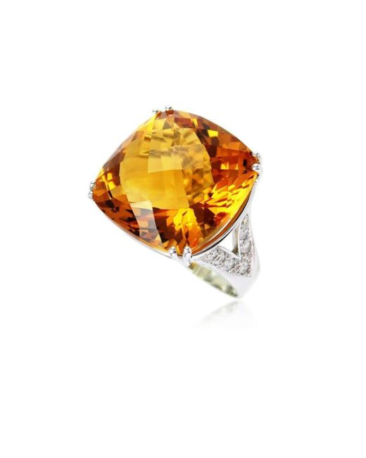 Cherie Thum - Metallic Fire And Ice Cushion Citrine Ring - Lyst