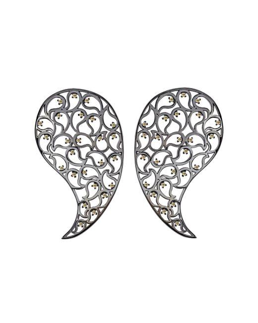 Sonal Bhaskaran - Multicolor Jaali Ruthenium & Yellow Cubic Zirconia Paisley Earrings - Lyst