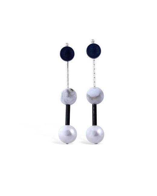 Vicky Davies - Multicolor Oxidised Silver Dot Pearl Drop Earrings - Lyst