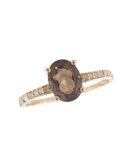 Lali Jewels - Metallic 14kt Yellow Gold Diamond And Smoky Quartz Ring - June Birthstone - Lyst
