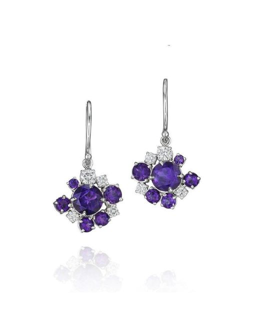 Madstone Design - Purple Amethyst And Diamond Melting Ice Wire Earrings - Lyst