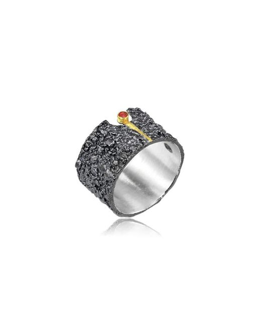 Apostolos Jewellery | Metallic The Earth Song 6 Oxidised Silver Ring | Lyst