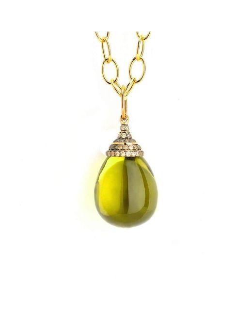 Syna - Multicolor 18kt Lemon Quartz Drop Necklace With Champagne Diamonds - Lyst