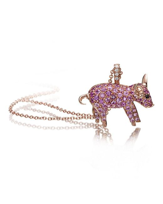 Pinomanna - Pink Pet Jewels Collection Pig Necklace - Lyst