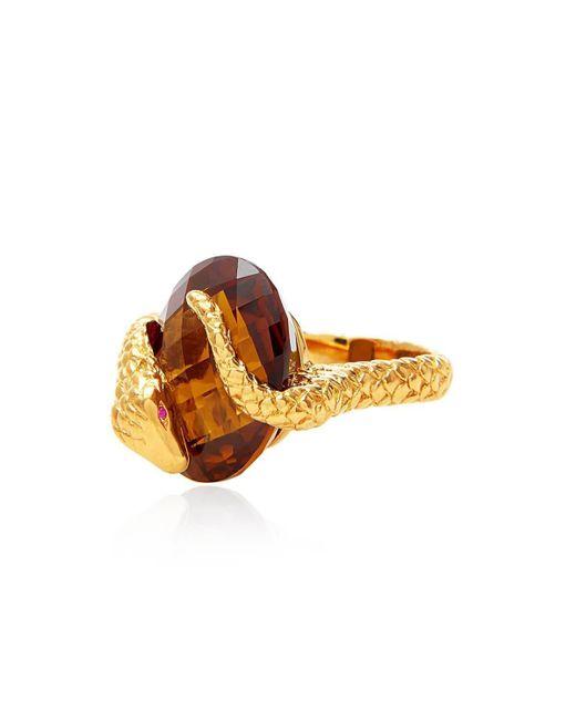 Alexandra Alberta - Metallic Yellow Gold Plated Gaia Ring With Whisky Quartz - Lyst