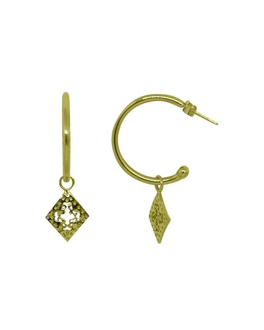 Murkani Jewellery - Metallic Medium Hoop Earrings With Diamond Pendants In 18kt Yellow Gold Plate - Lyst