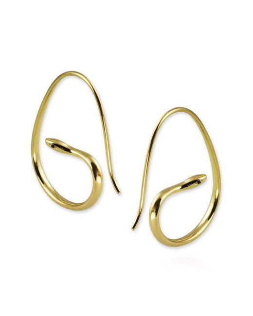 Jana Reinhardt Jewellery - Metallic Snake Hoop Earrings With Black Diamonds In Yellow Gold Plated Silver - Lyst