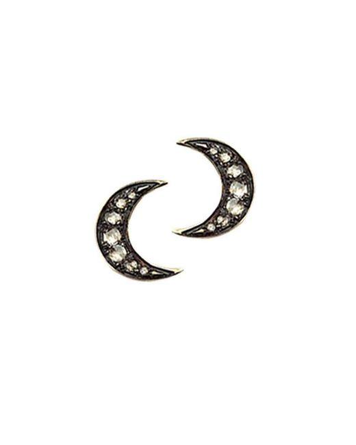 London Road Jewellery - Metallic Portobello Yellow Gold Rose Cut Diamond Moon Starry Night Earrings - Lyst