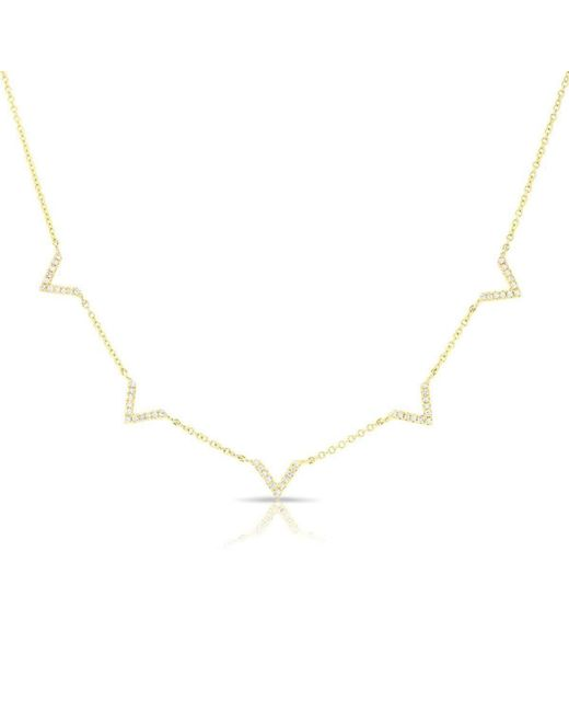 Anne Sisteron - Multicolor 14kt Yellow Gold Diamond 5 Mini Chevrons Necklace - Lyst