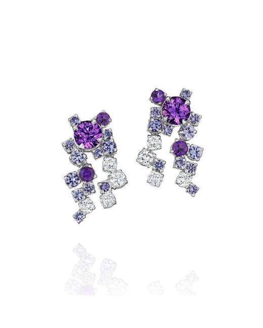 Madstone Design - Melting Ice Cluster Purple Sapphire Drop Earrings - Lyst
