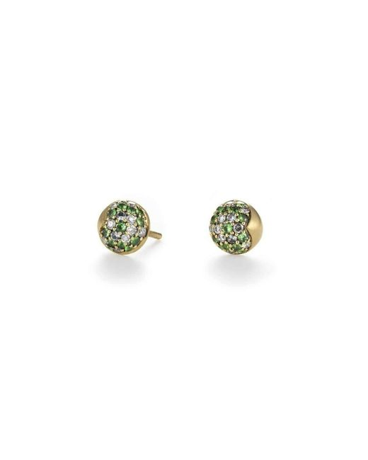 Anahita Jewelry - Green Half-dome Pavé Stud Earrings - Lyst