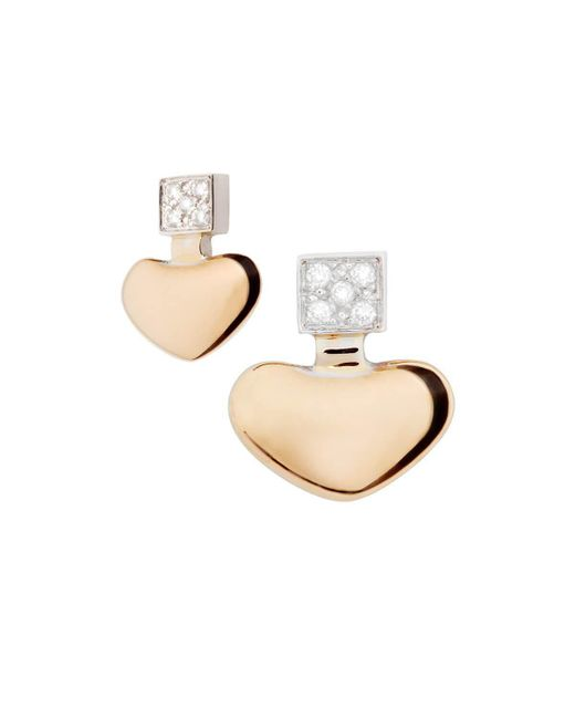 Mimata - Metallic Heart Earrings - Lyst