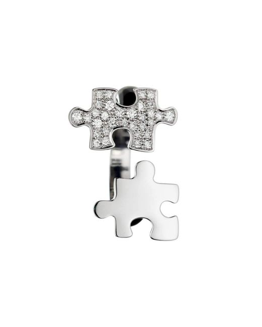 Akillis - Multicolor Puzzle White Gold With White And Black Diamonds Ring - Lyst