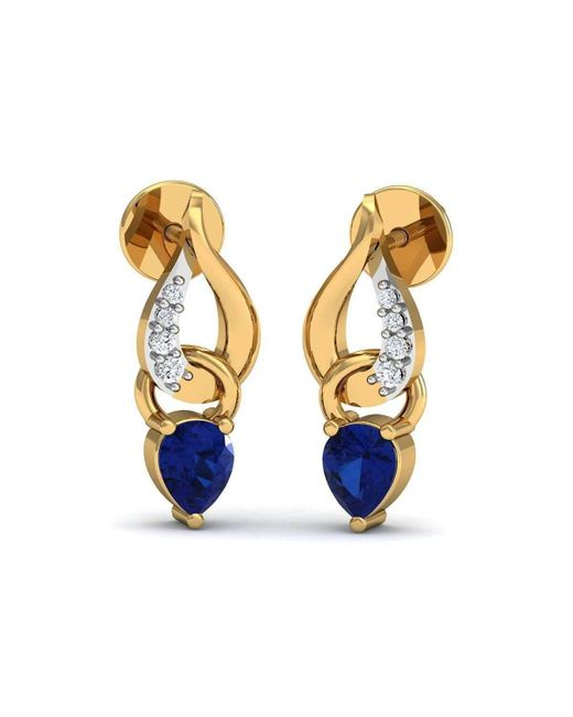 Diamoire Jewels | Prong Set Blue Sapphire And Diamond Earrings In 10kt Yellow Gold | Lyst