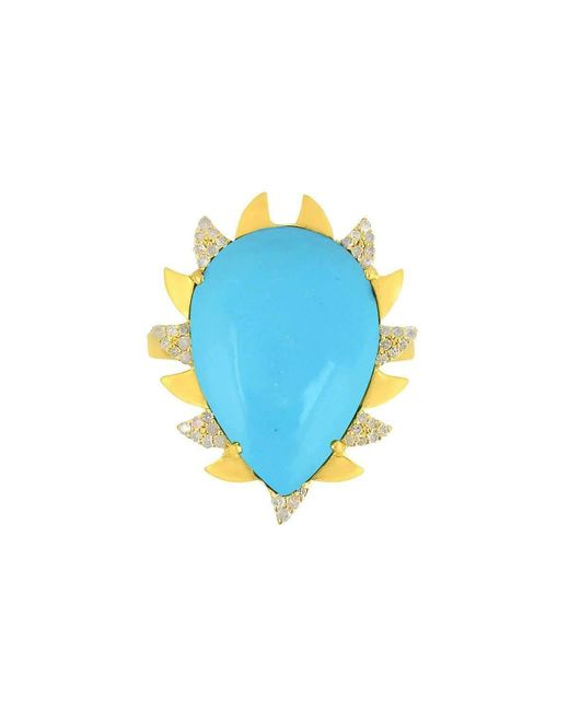 Meghna Jewels   Blue Claw Ring Turquoise   Lyst