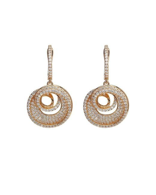 Lustre of London - Metallic Rose Spiral Drop Earrings - Lyst