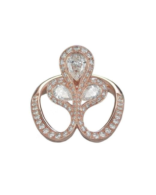 Baenteli - Metallic Rose Gold & Diamond Royale Flower Ring | - Lyst