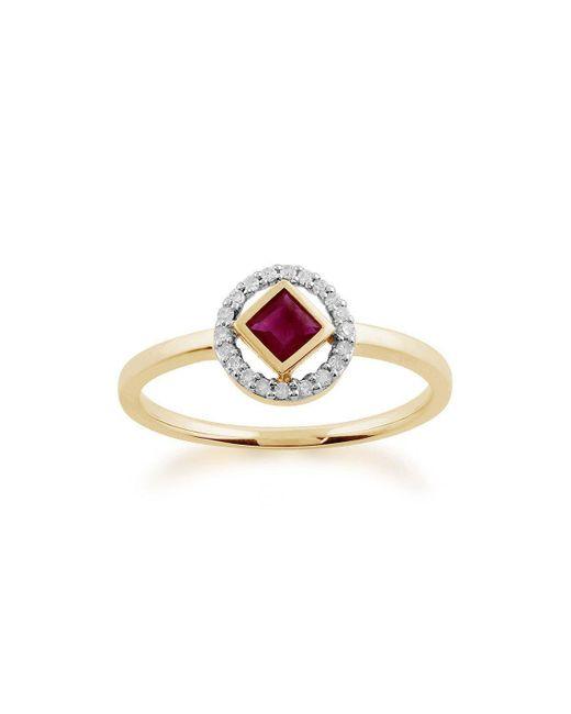 Gemondo Jewellery - Multicolor Ruby And Diamond Geometric Halo Ring - Lyst