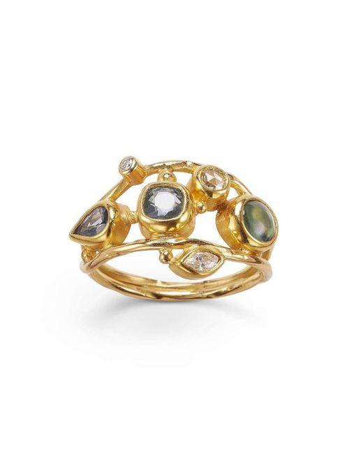 Bergsoe - Metallic Gold & Diamond Double Seafire Ring | - Lyst