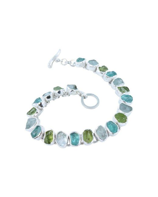 Reeves and Reeves - Blue Rough Peridot, Aquamarine And Apatite Bracelet - Lyst