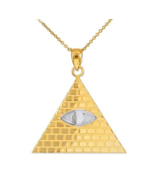 QP Jewellers - Metallic Egyptian Pyramid Eye Of Horus Pendant 9kt Two-tone Gold - Lyst