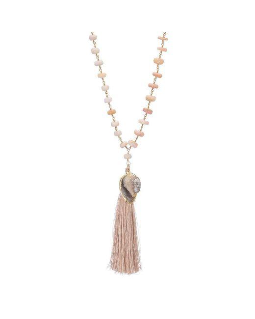 Heather Kenealy Jewelry - Metallic Druzy Seashell With Silk Tassel On A Pink Opal Necklace - Lyst