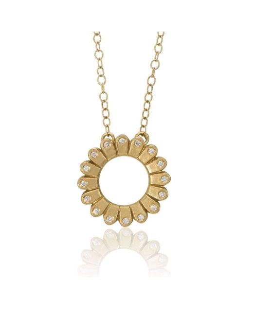 Flora Bhattachary Fine Jewellery - Metallic Lotus Hoop Pendant - Lyst