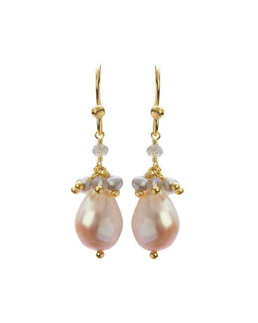 Mishanto London - Metallic Cari Yellow Gold And Labradorite Pearl Drop Earrings - Lyst