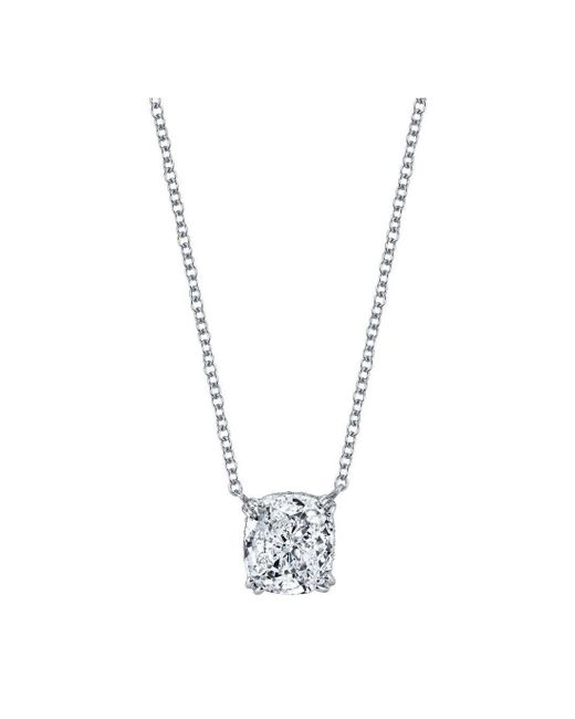 Harry Kotlar - Metallic Kotlar Cushion Diamond Solitaire Arabesque Necklace - Lyst