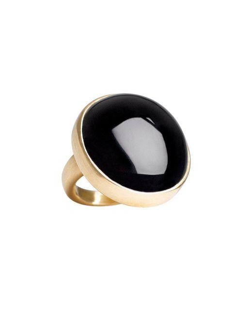 juniimjuli - Natural Gold & Onyx Moon Ring   - Lyst