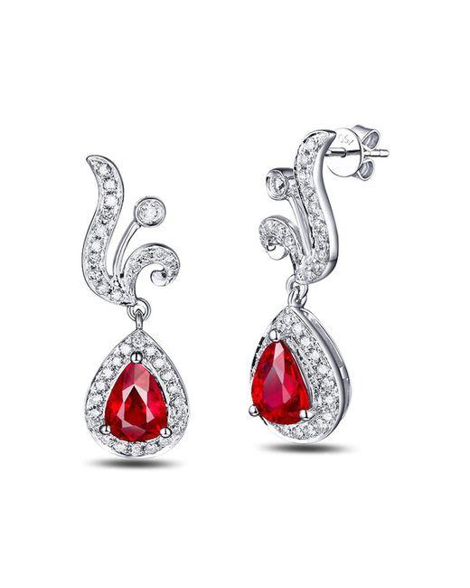 SILVER YULAN - Multicolor Pear Cut Ruby Diamond Earrings - 1.0ct Rubies - Lyst