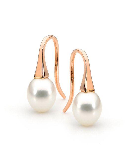 Argenton Design - Multicolor Yellow Gold Small White Pearl Short Drop Earrings - Lyst