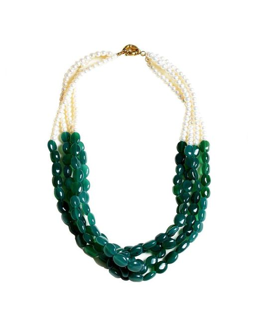 M's Gems by Mamta Valrani - Green Dark Foliage Pearl Necklace With Onyx - Lyst