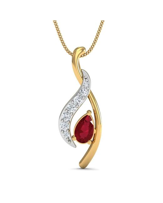 Diamoire Jewels | Metallic Premium Quality Diamonds And Ruby Pendant Nature Inspired In 10kt Yellow Gold | Lyst