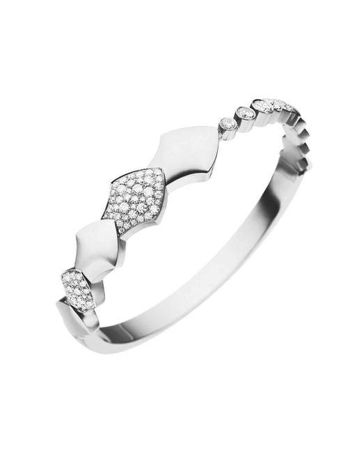 Akillis - Multicolor 18kt White Gold Half Diamond Set Python Bracelet - Lyst