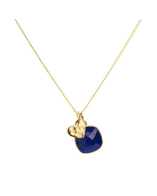 Elizabeth Raine - Metallic Heart Amulet Lapis Chakra Pendant Necklace 24kt Gold Vermeil - Lyst