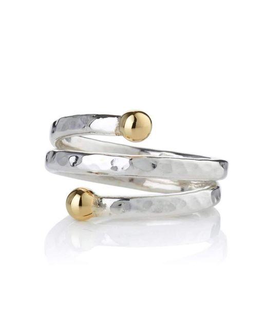 Lavan Sterling Silver Ring With 9kt Gold Bead - UK U 1/2 - US 10 1/2 - EU 63 1/2 Qf011I1lmp