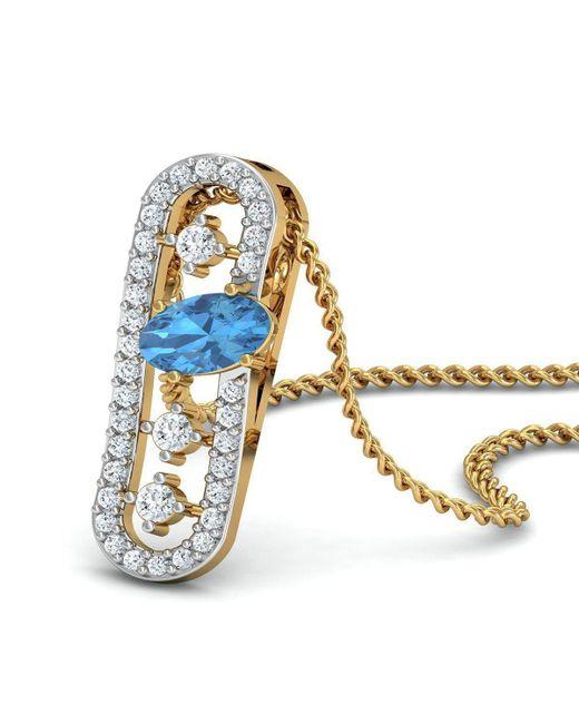 Diamoire Jewels - Metallic Nature Inspired Oval Aquamarine Pendant With Premium Diamonds In 18kt Yellow Gold - Lyst