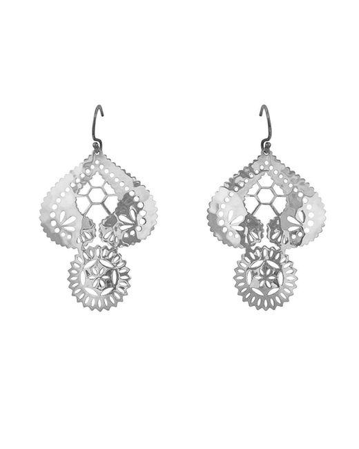 Murkani Jewellery - Metallic Lace Doily Silver Large Earrings - Lyst