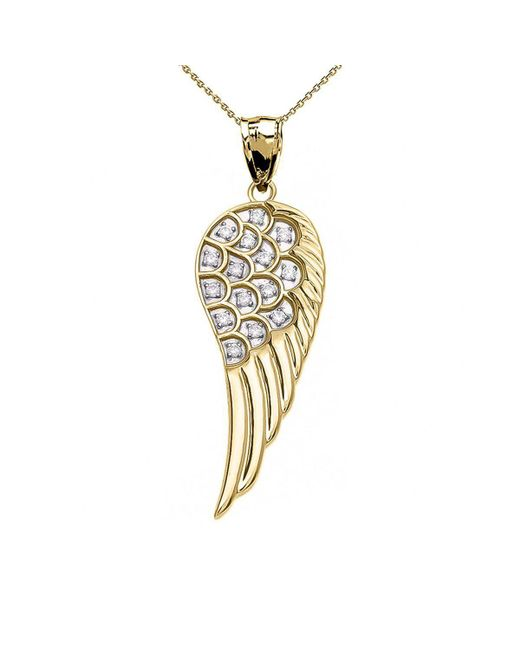 QP Jewellers - Metallic Diamond Angel Wing Pendant Necklace In 9kt Gold - Lyst