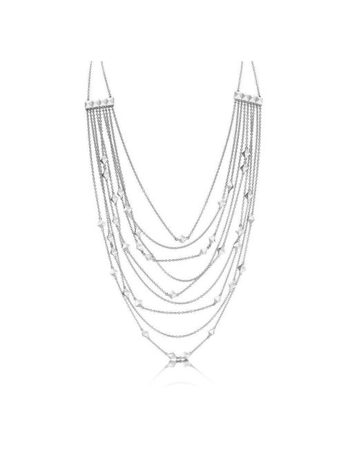 ROX - Diamonds and Thrills - Metallic Identity Sterling Silver Strand Stud Necklace - Lyst