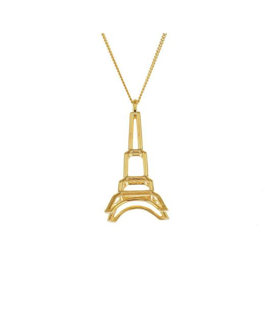 Origami Jewellery - Metallic Sterling Silver & Gold Frame Eiffel Tower Origami Necklace - Lyst