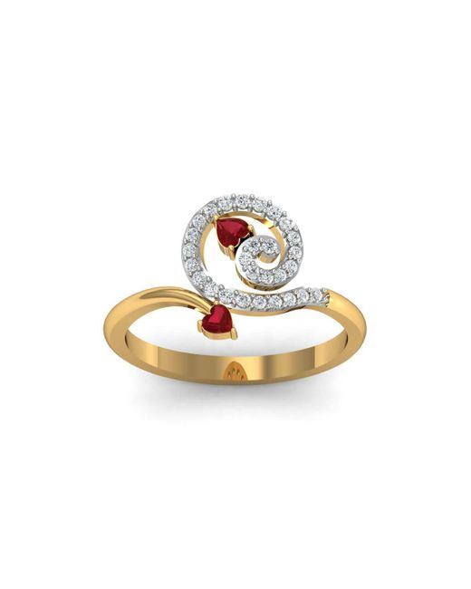 Diamoire Jewels - Metallic 18kt Yellow Gold Pave 0.17ct Diamond Infinity Ring With Ruby - Lyst