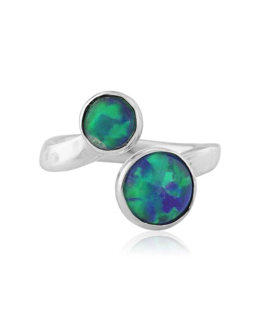 Lavan - Green And Jelly Blue Opal Adjustable Ring - Lyst