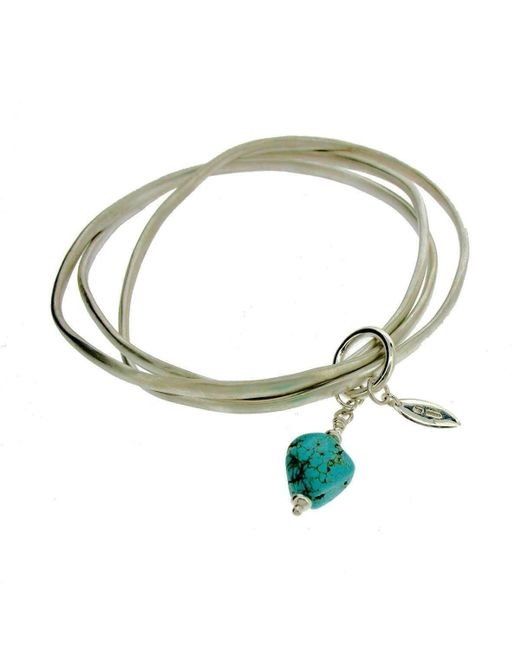 Will Bishop - Metallic Sterling Silver Coil Bangles With Turquoise - Lyst