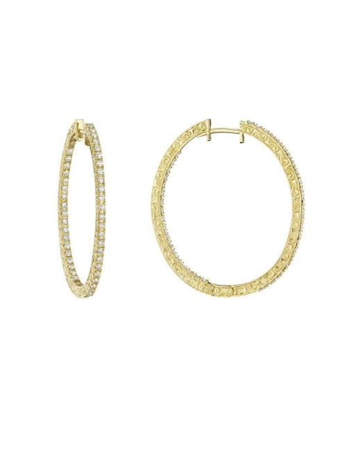 Penny Preville - Metallic Oval Diamond Hoop Earrings - Lyst